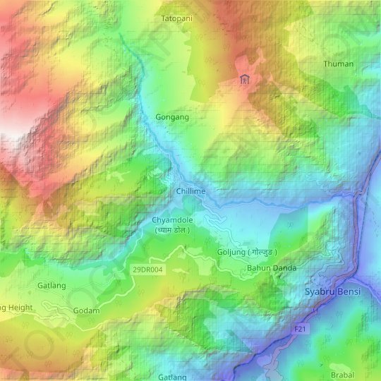 Carte topographique Chillime, carte du relief, carte des altitudes