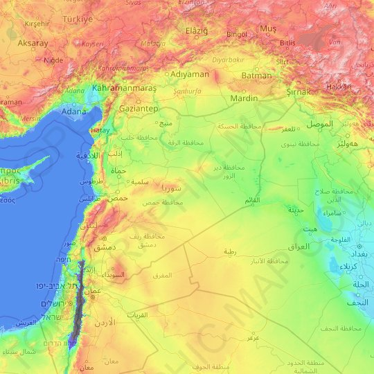 Carte topographique Syrie, altitude, relief
